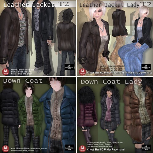 Leather Jackets-Down Coats  by BareRose @ The Deck-tile