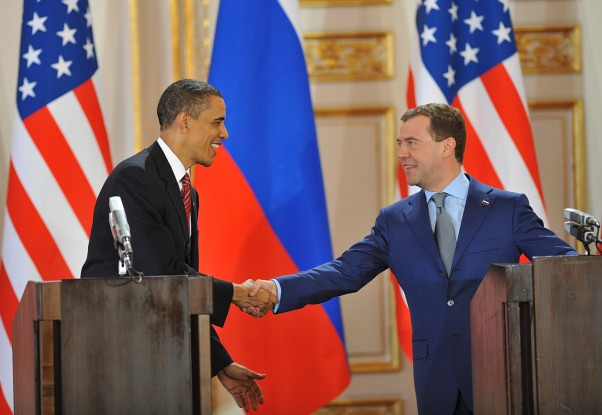Barack Obama and Dmitry Medvedev after sign the New START treaty, April, 2010.