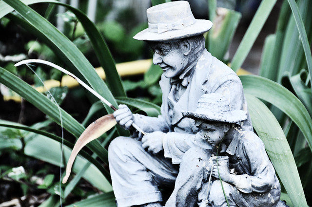 Fisherman and Son Garden Statues