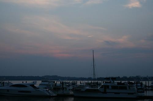 Dusk sky over the harbor