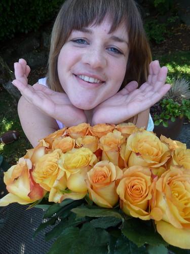 Lara among the roses