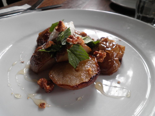 Roasted corella pears, labneh, roasted walnuts and local honey