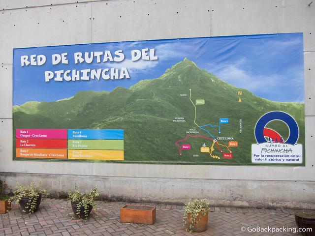 Trail map for hiking Pichincha Volcano
