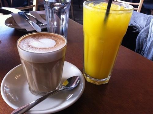 Latte & Orange Juice at West End Deli