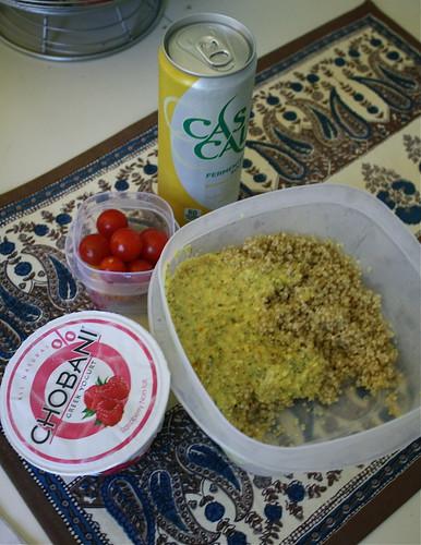 Chobani raspberry, quinoa, cascal, tomatoes