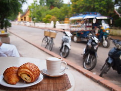 Pastries and a cup of coffee, Le Banneton, Luang Prabang