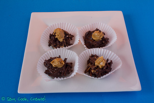 Chocolate Spiders with peanut butter dollop on top!