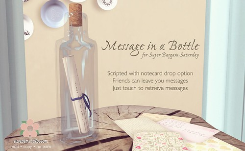 Message in a Bottle for Super Bargain Saturday
