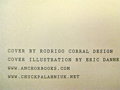 Chuck Palahniuk / Tell All / Rodrigo Corral Design. Colophon (part.)