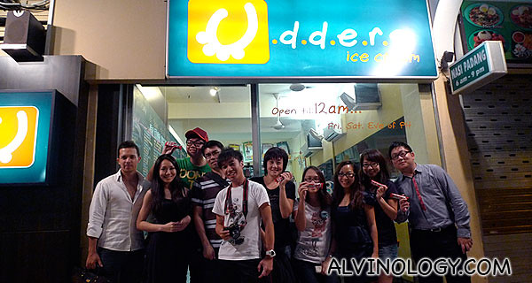 Group picture outside Udders at Novena