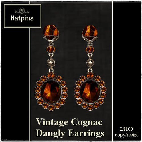 Hatpins - Vintage Cognac Dangly Earrings