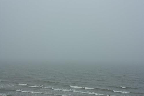 A foggy morning at the sea