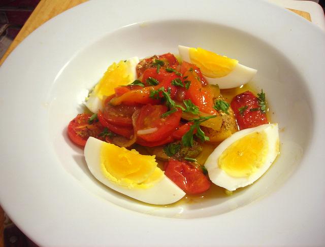 Hard-cooked farm egg, slow-roasted tomatoes and peperonata