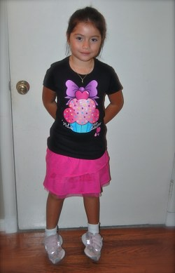 "First day of FIRST grade! Maya's shirt says ""La vida es dulce..."""