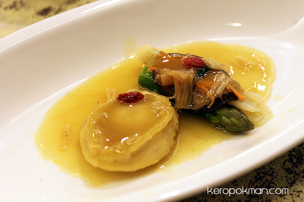 Braised Sliced Abalone, Dried Scallop & Vegetables in Tan Jia Sauce