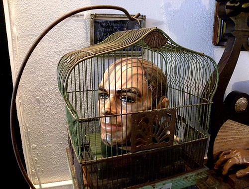 Head in a cage at the Peculiarium, Portland, Oregon