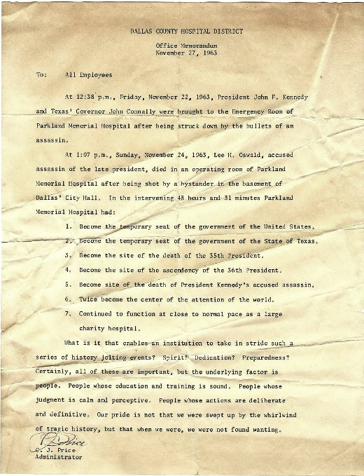 We were not found wanting, thank you letter to employees of Parkland Hospital, Dallas, Nov. 27, 1963