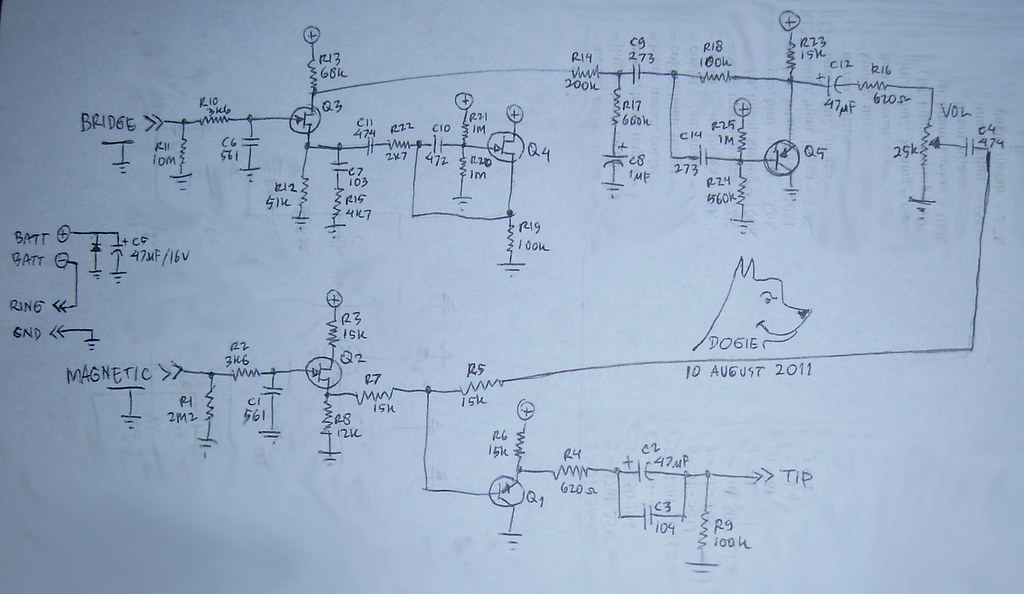 Crystal Pickup Preamplifier Circuit