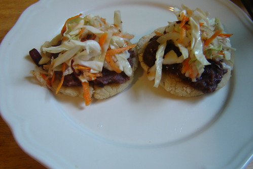 pupusas with refried black beans and curtido (spicy slaw)