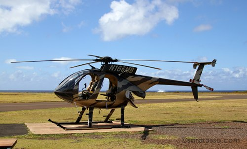 Doors off helicopter ready for takeoff, Kauai, Hawaii