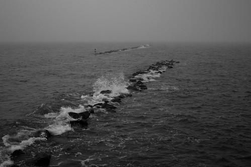Foaming sea
