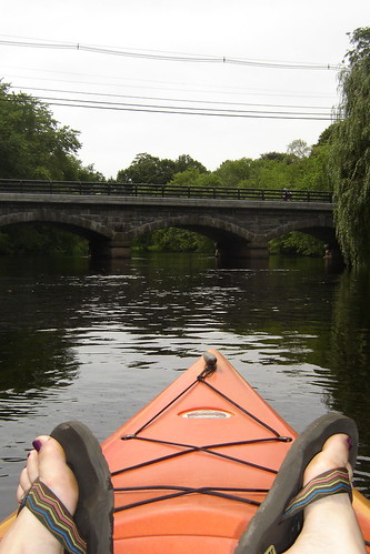 kicking back on  the kayak