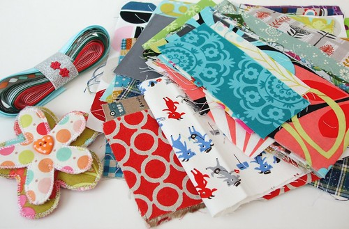 Gorgeous fabrics, trims and brooch from Jane