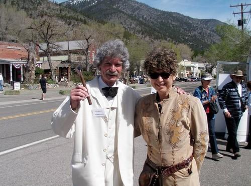 Caroline Lawrence with 'Mark Twain'
