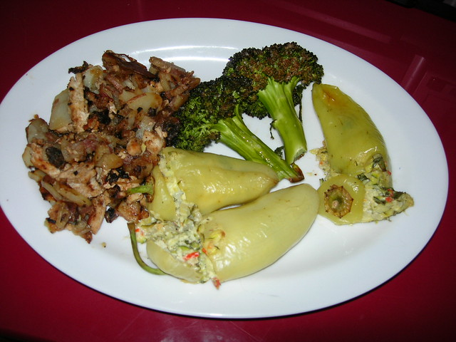 Peppers Stuffed with Zucchini & Basil, Roasted Broccoli & Turkey Hash