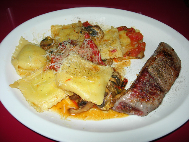 Sirloin Steak with Mushroom and Red Pepper Ravioli