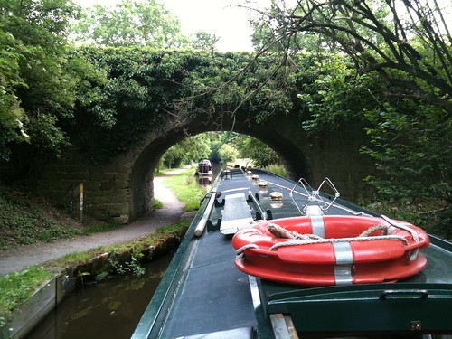 There's not much room when you pass under a bridge on The Llangollen Canal