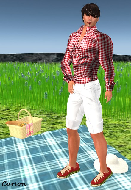 Gizza Creation - White Bermuda Shorts and Checked Shirt