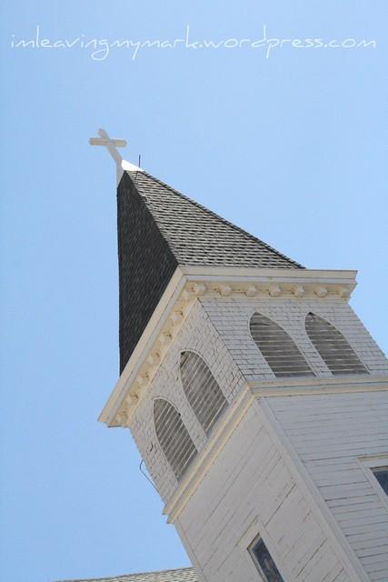 steeple blue sky