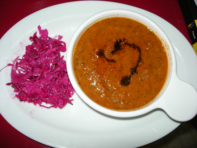 Modavia Tomato Soup and Fennel Cabbage Slaw