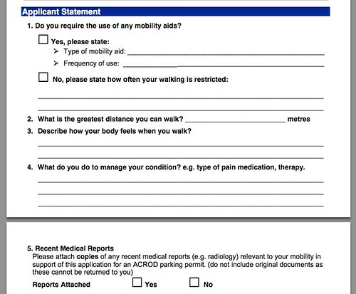 Screen Shot of PDF of parking permit - Applicant Statement section. See text for details