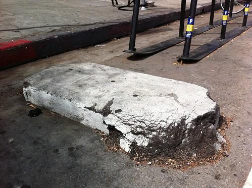 York Blvd bike corral damage