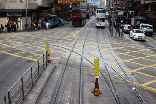 Tramway junction for the line from Happy Valley, Hong Kong