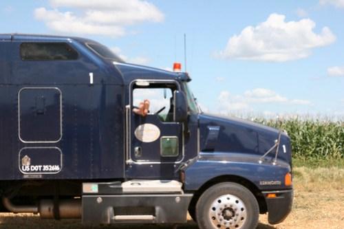 A hard days work for Adam our trucker.