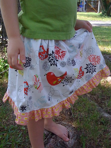 starling playskirt: close up of hand embroidery