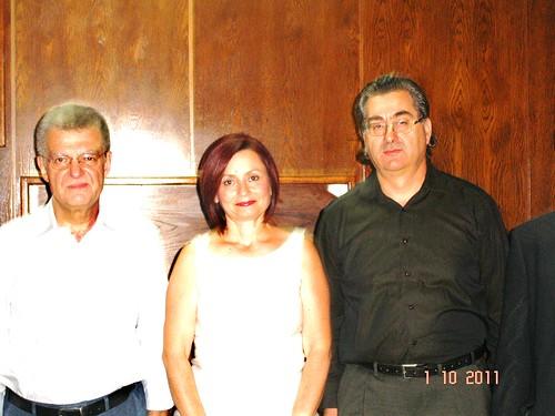 Αφιέρωμα στον Οδυσσέα Ελύτη. Από αριστερά: Γιώργος Χουλιάρας, Βιβή Παντελάκη, Κώστας Ζωτόπουλος.