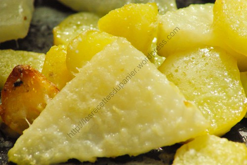Chou-rave et pommes de terre rôtis au parmesan / Roasted Kohlrabi and Potato with Parmesan