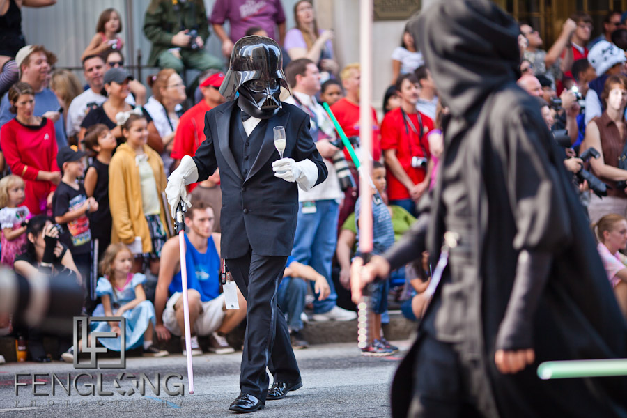 Darth Vader in a Tuxedo at the 25th Anniversary Dragon Con Parade 2011 on Peachtree Street in Downtown Atlanta