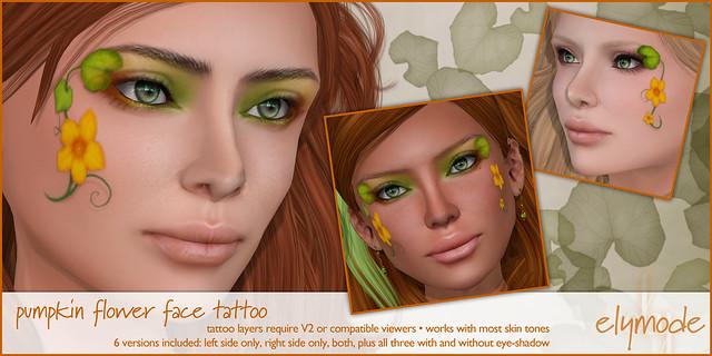 pumpkin flower face paint tattoo