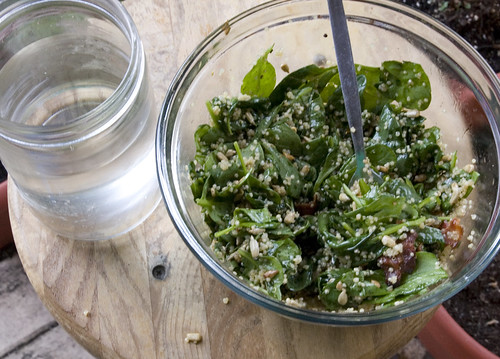 Wilted Spinach and Quinoa Salad with Spicy-Sweet Vinaigrette