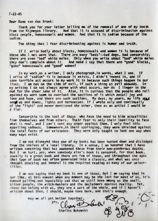 Bukowski-letter