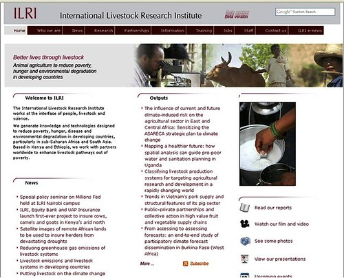 ILRI website screen shot, December 2009
