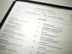 Cocktail menu, A Curious Teepee Presents The Naked Finn