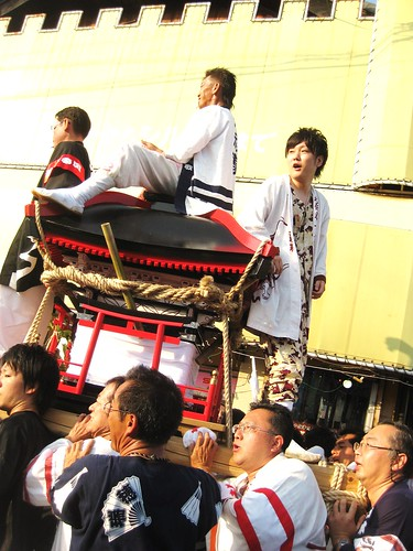 Carrying the Mikoshi Through the Crowd!