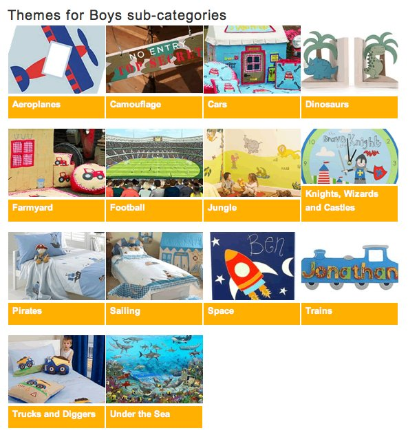 'Boys themes' sub-categories page from kidzdens.co.uk