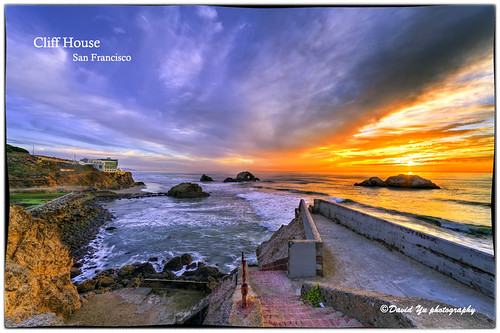 Cliff House San Francisco sunset color moment by davidyuweb
